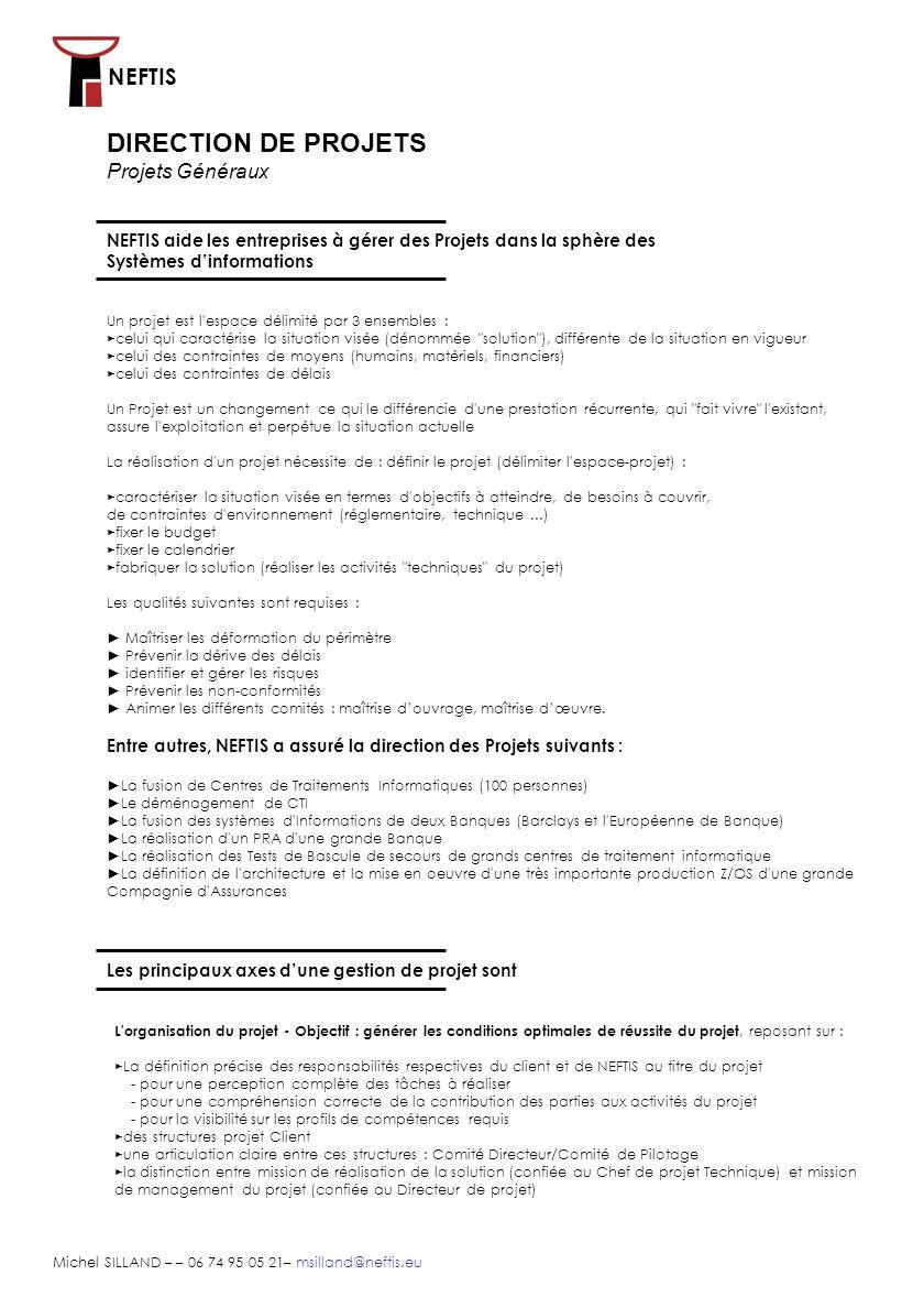 DIRECTION DE PROJETS Projets Généraux