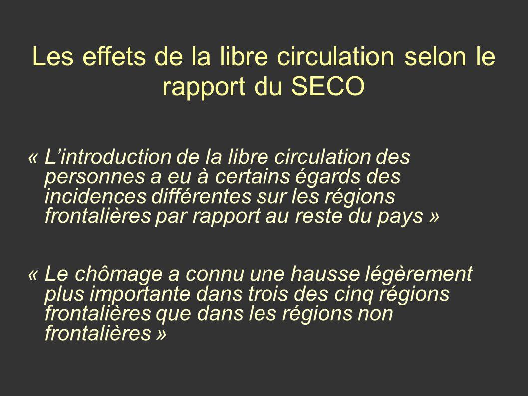 Les effets de la libre circulation selon le rapport du SECO