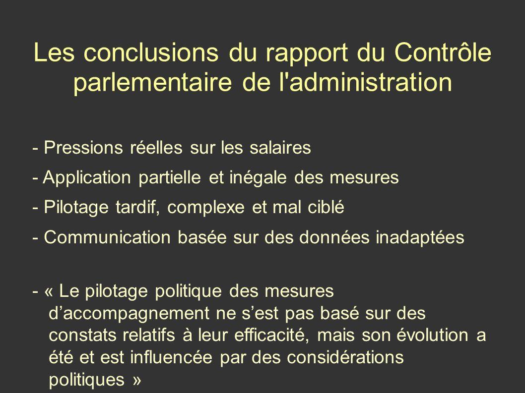 Les conclusions du rapport du Contrôle parlementaire de l administration