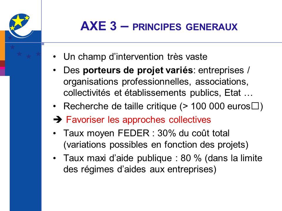 AXE 3 – PRINCIPES GENERAUX
