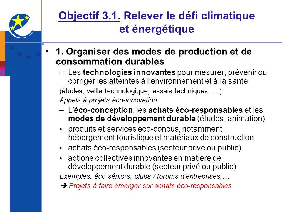 Objectif 3.1. Relever le défi climatique et énergétique