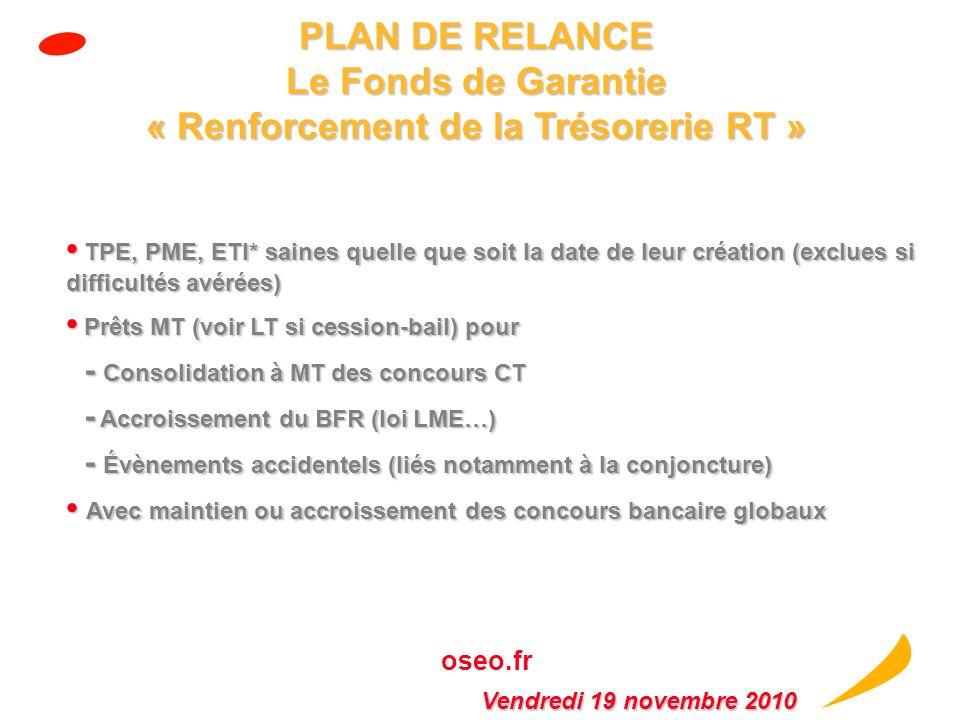 PLAN DE RELANCE Le Fonds de Garantie « Renforcement de la Trésorerie RT »