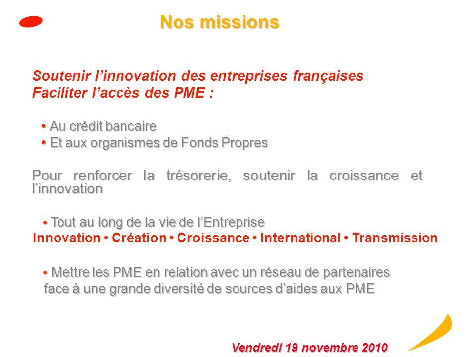 Nos missions Soutenir l'innovation des entreprises françaises