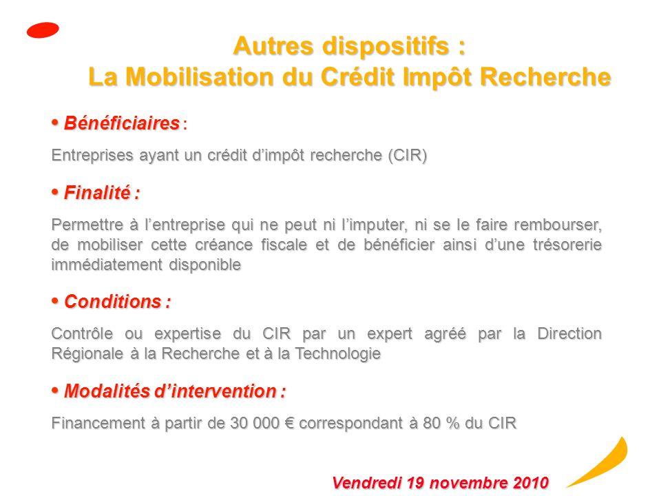 Autres dispositifs : La Mobilisation du Crédit Impôt Recherche