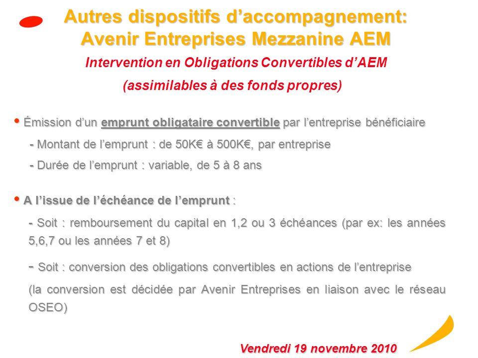 Autres dispositifs d'accompagnement: Avenir Entreprises Mezzanine AEM