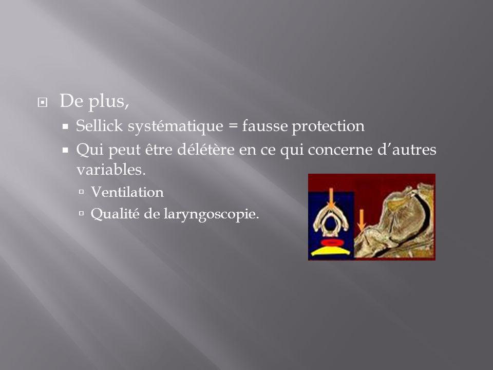 De plus, Sellick systématique = fausse protection