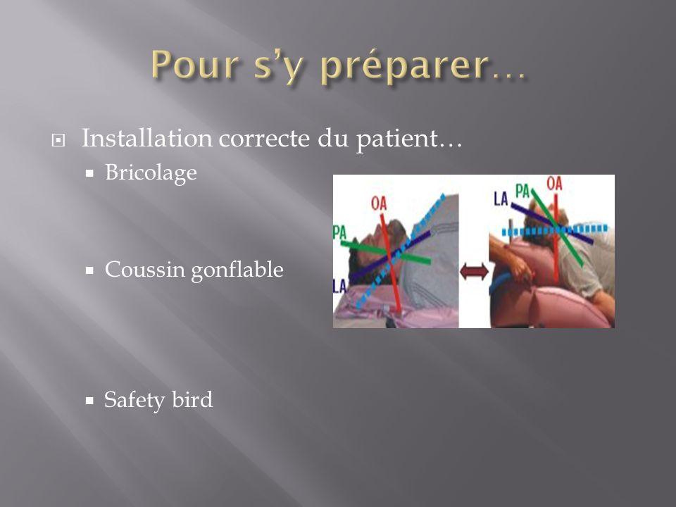 Pour s'y préparer… Installation correcte du patient… Bricolage