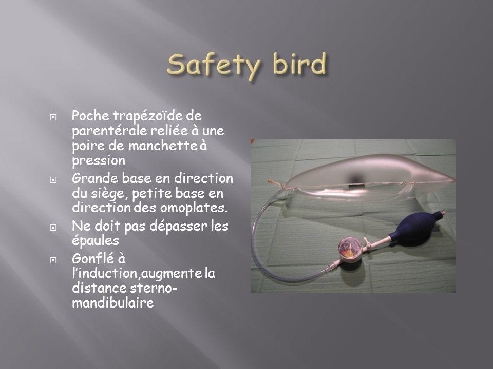Safety birdPoche trapézoïde de parentérale reliée à une poire de manchette à pression.