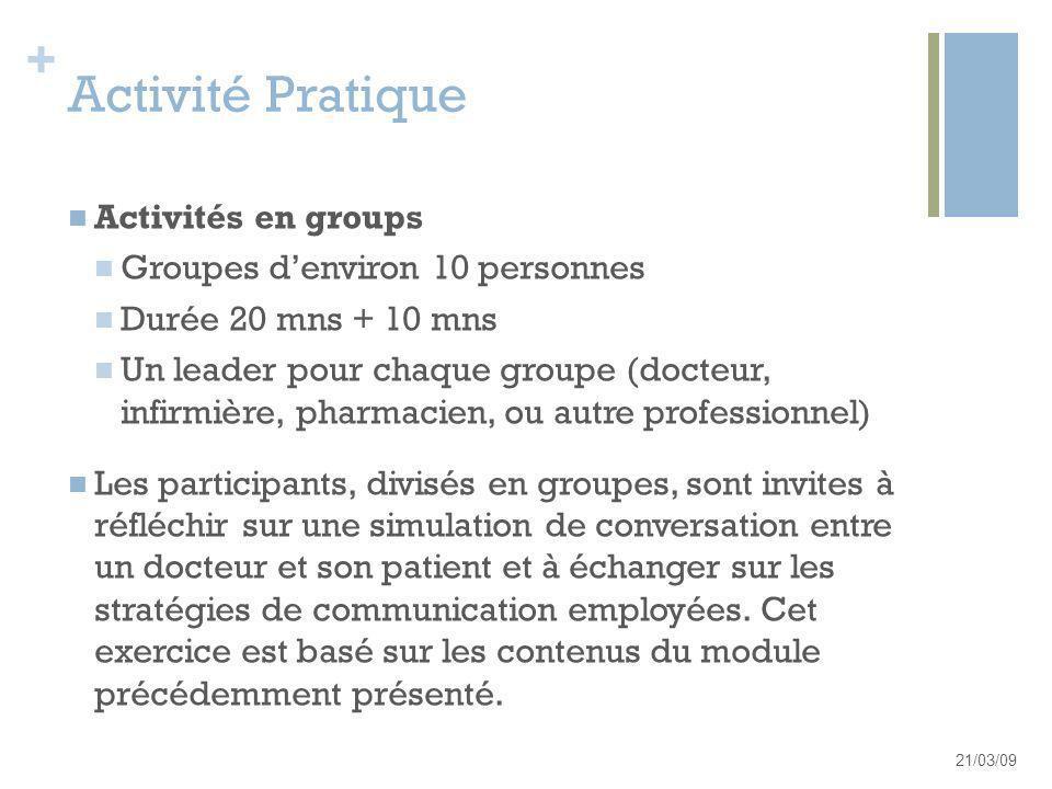 Activité Pratique Activités en groups Groupes d'environ 10 personnes
