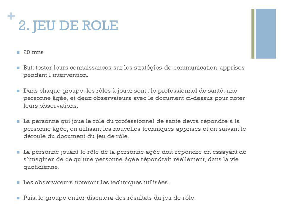 2. JEU DE ROLE 20 mns. But: tester leurs connaissances sur les stratégies de communication apprises pendant l'intervention.