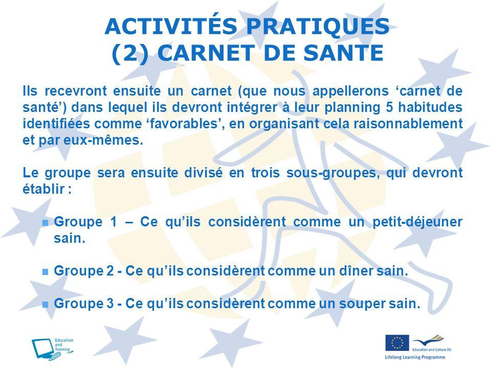 ACTIVITÉS PRATIQUES (2) CARNET DE SANTE