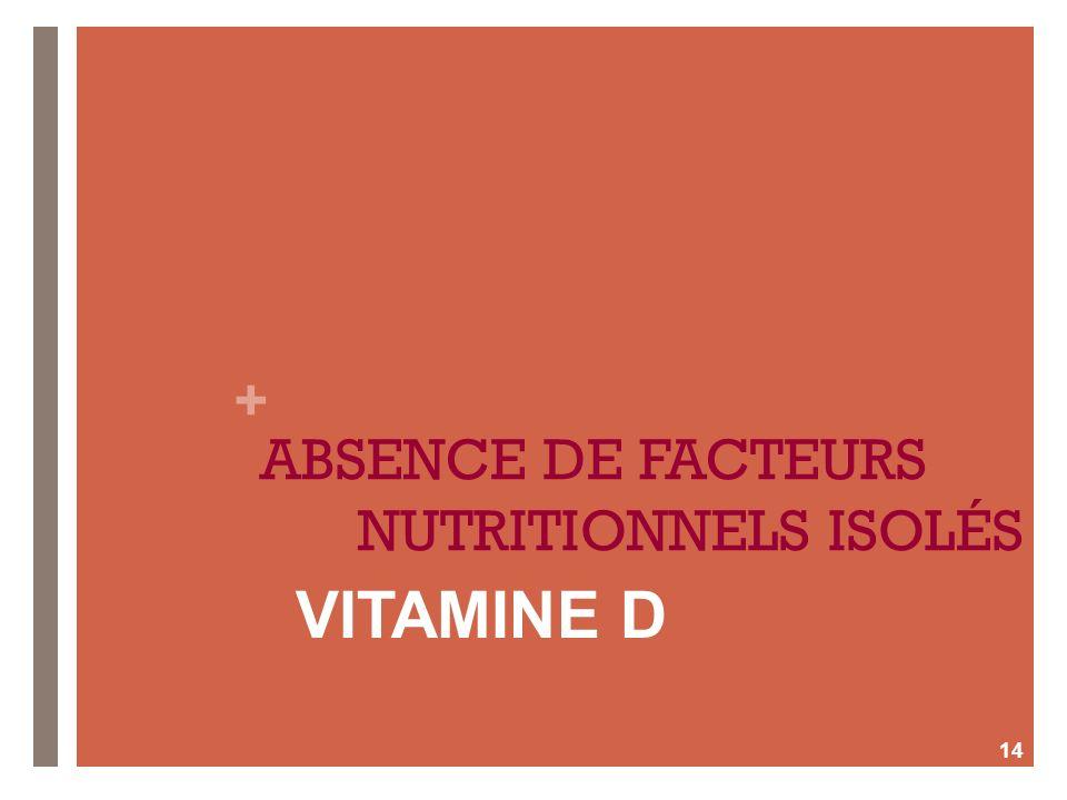 ABSENCE DE FACTEURS NUTRITIONNELS ISOLÉS