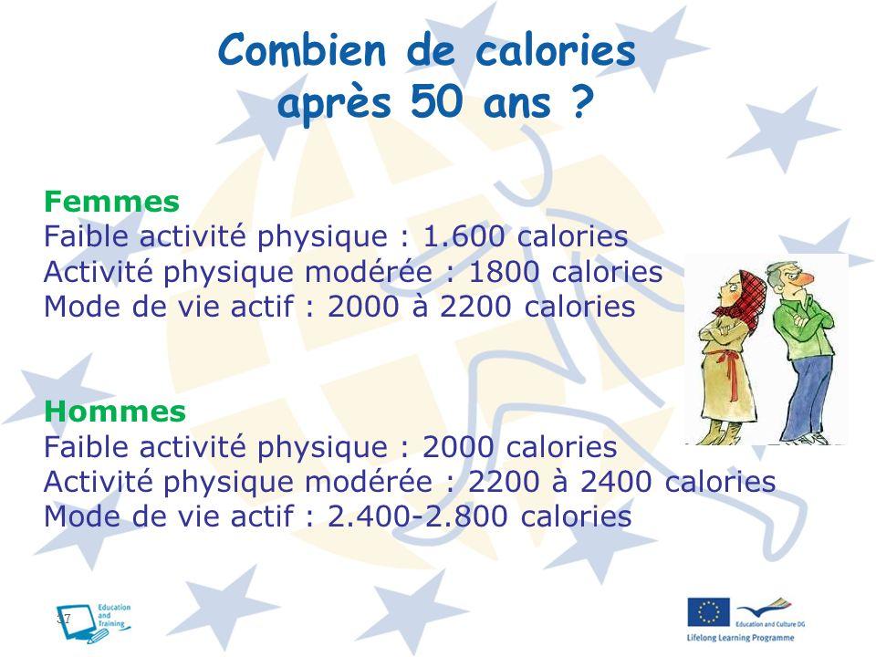 Combien de calories après 50 ans