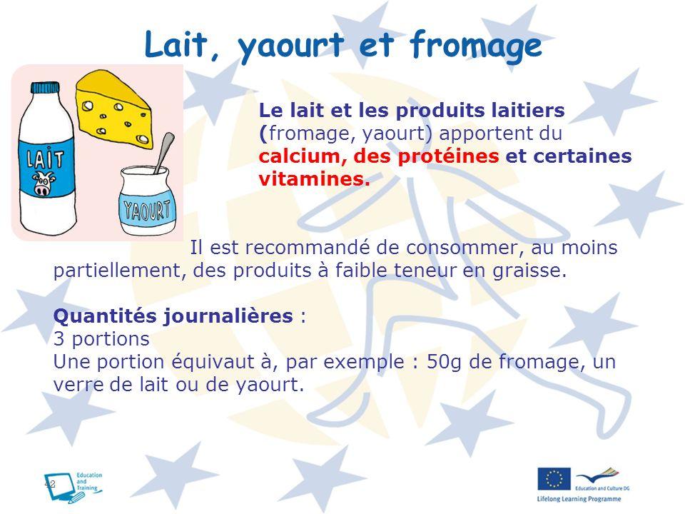 Lait, yaourt et fromage