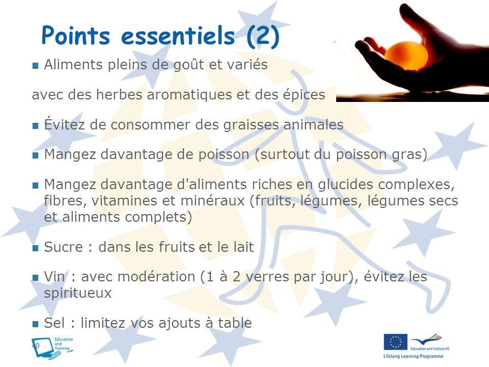 Points essentiels (2) Aliments pleins de goût et variés