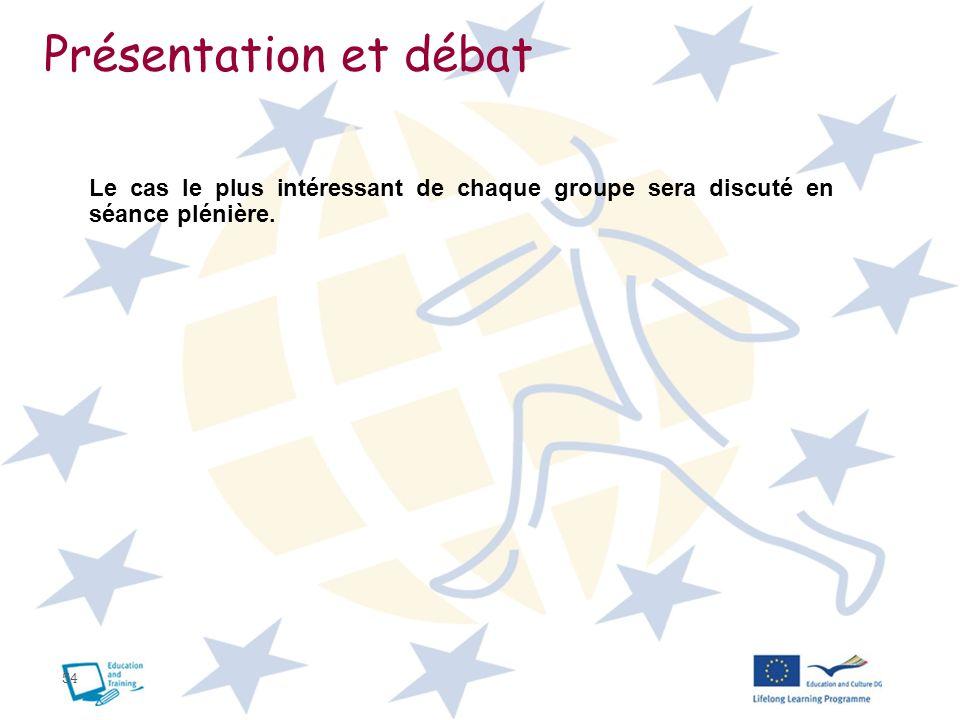 Présentation et débat Le cas le plus intéressant de chaque groupe sera discuté en séance plénière.
