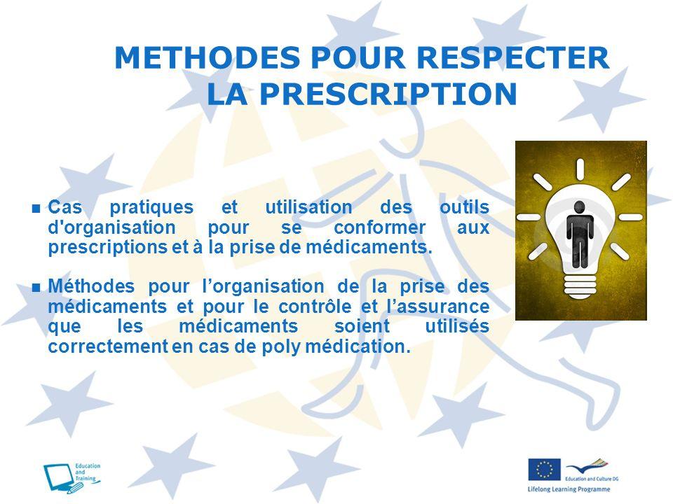 METHODES POUR RESPECTER LA PRESCRIPTION
