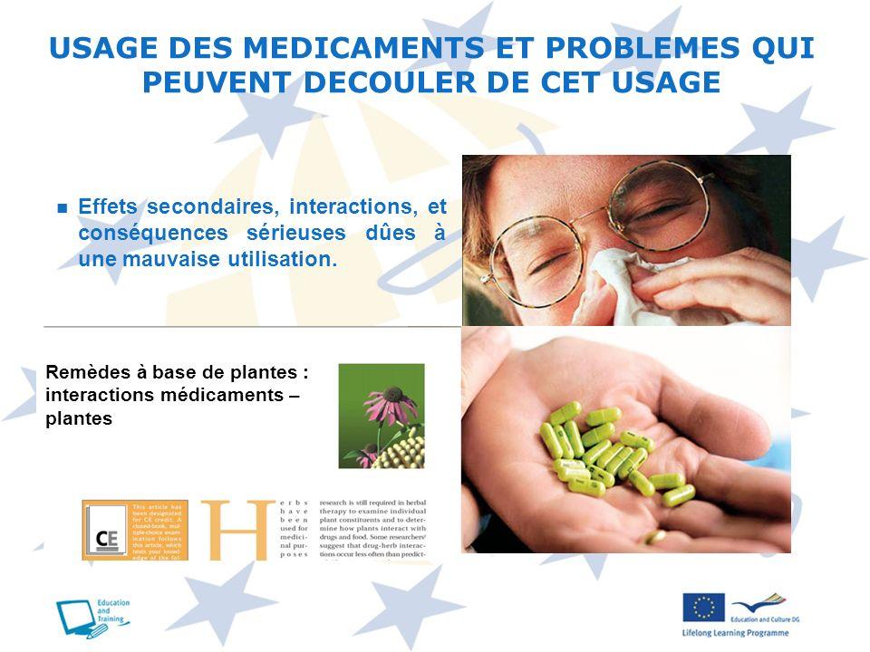 USAGE DES MEDICAMENTS ET PROBLEMES QUI PEUVENT DECOULER DE CET USAGE