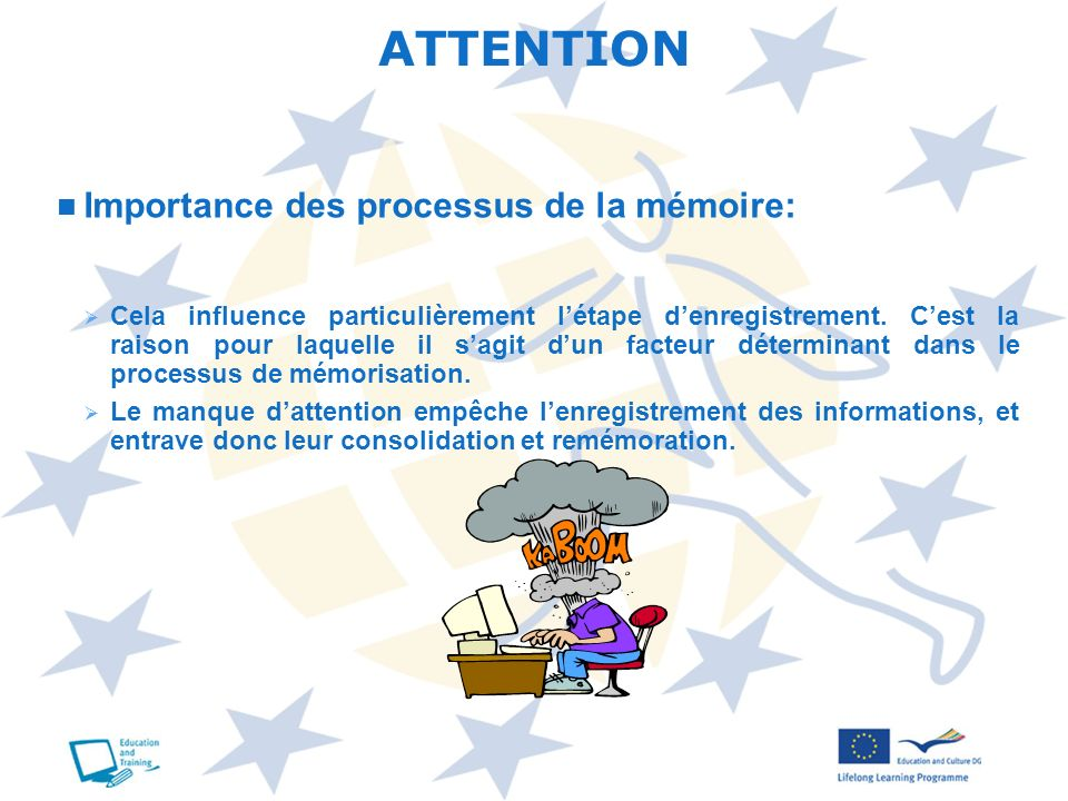 ATTENTION Importance des processus de la mémoire: