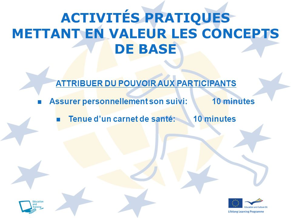 ACTIVITÉS PRATIQUES METTANT EN VALEUR LES CONCEPTS DE BASE