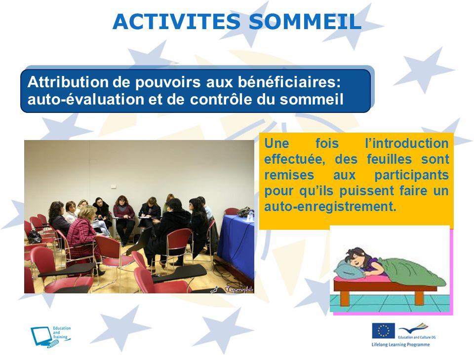 ACTIVITES SOMMEIL Attribution de pouvoirs aux bénéficiaires: auto-évaluation et de contrôle du sommeil.