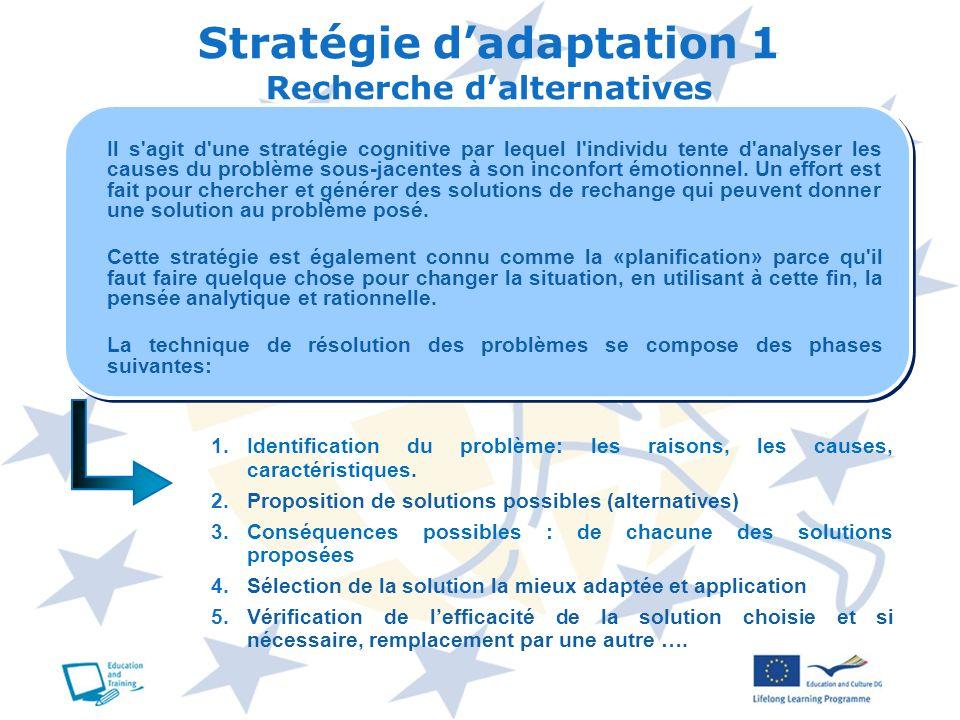 Stratégie d'adaptation 1 Recherche d'alternatives