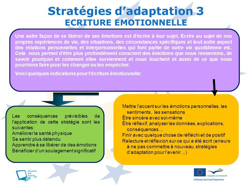 Stratégies d'adaptation 3 ECRITURE EMOTIONNELLE