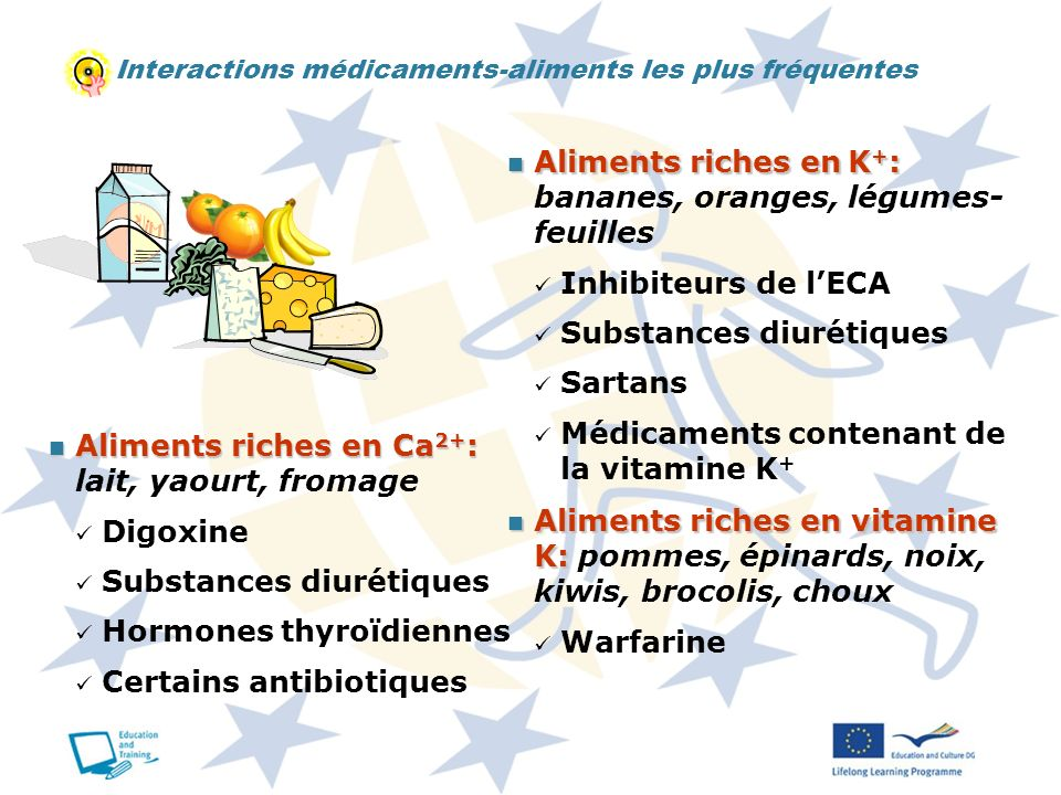 Aliments riches en K+: bananes, oranges, légumes- feuilles