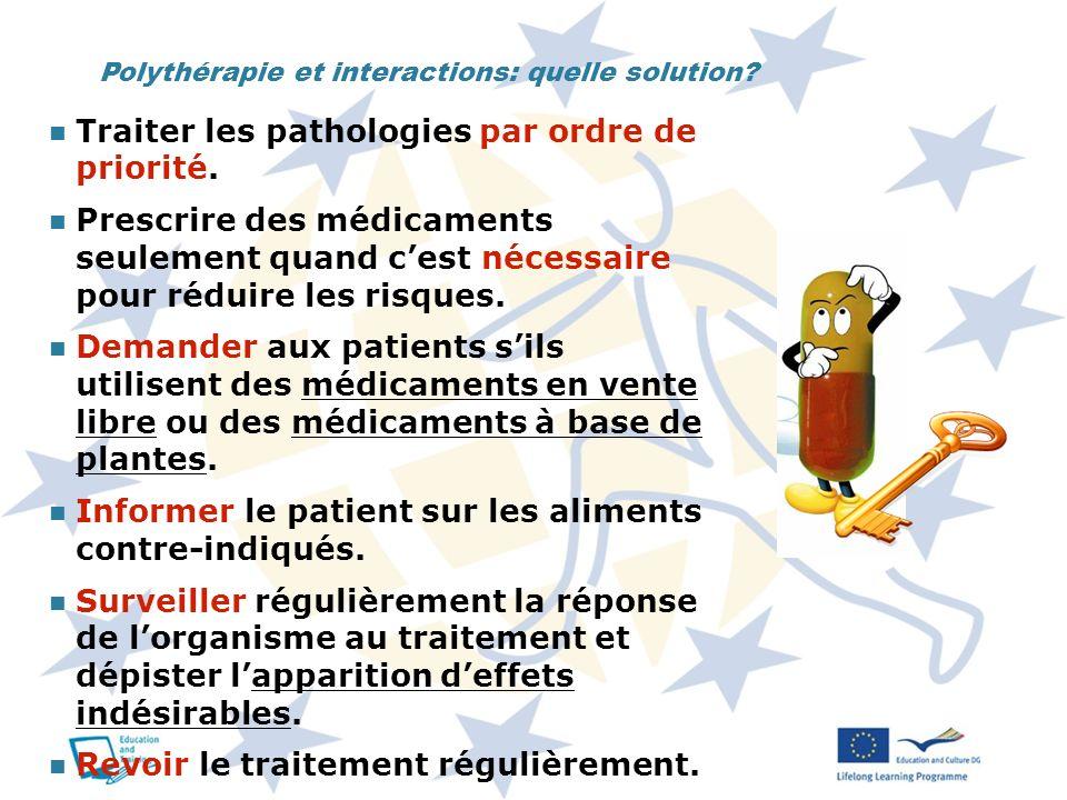 Traiter les pathologies par ordre de priorité.