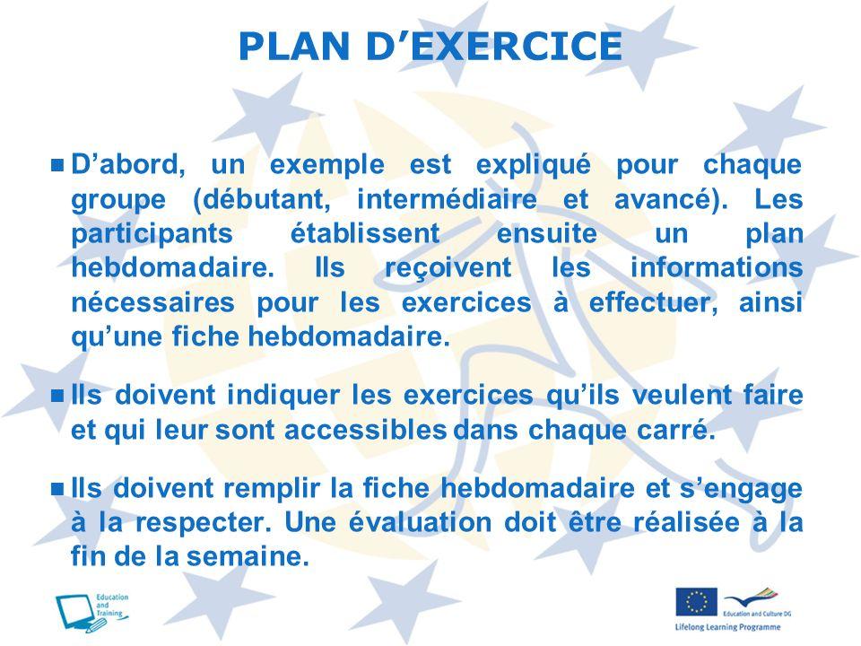 PLAN D'EXERCICE