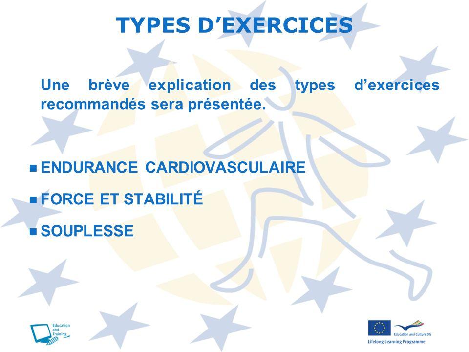 TYPES D'EXERCICES Une brève explication des types d'exercices recommandés sera présentée. ENDURANCE CARDIOVASCULAIRE.