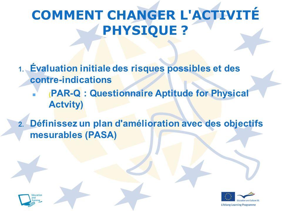 COMMENT CHANGER L ACTIVITÉ PHYSIQUE