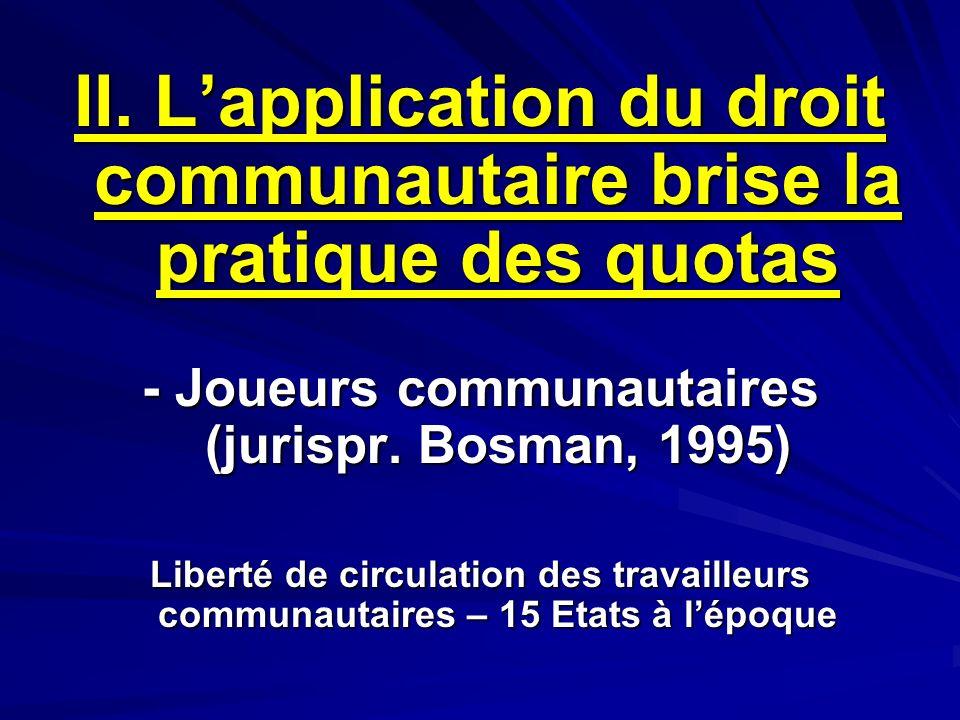 II. L'application du droit communautaire brise la pratique des quotas