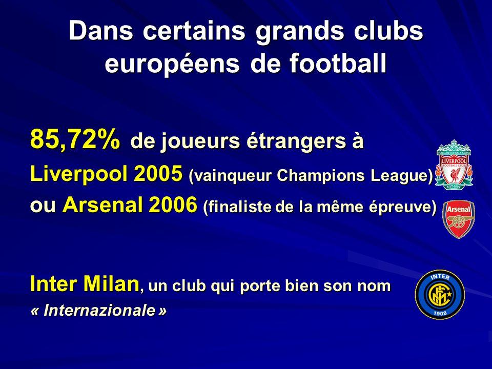 Dans certains grands clubs européens de football