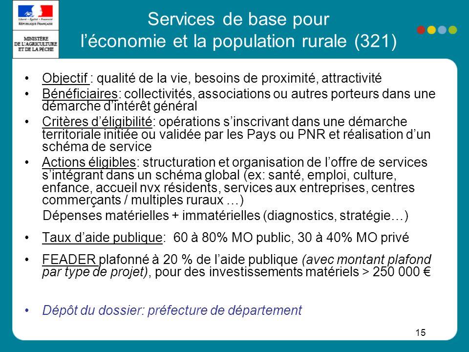 Services de base pour l'économie et la population rurale (321)