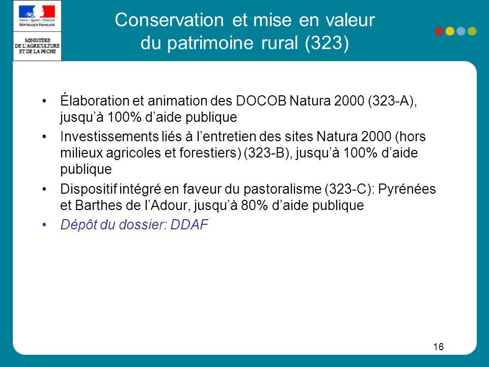 Conservation et mise en valeur du patrimoine rural (323)