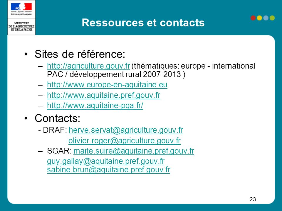 Ressources et contacts