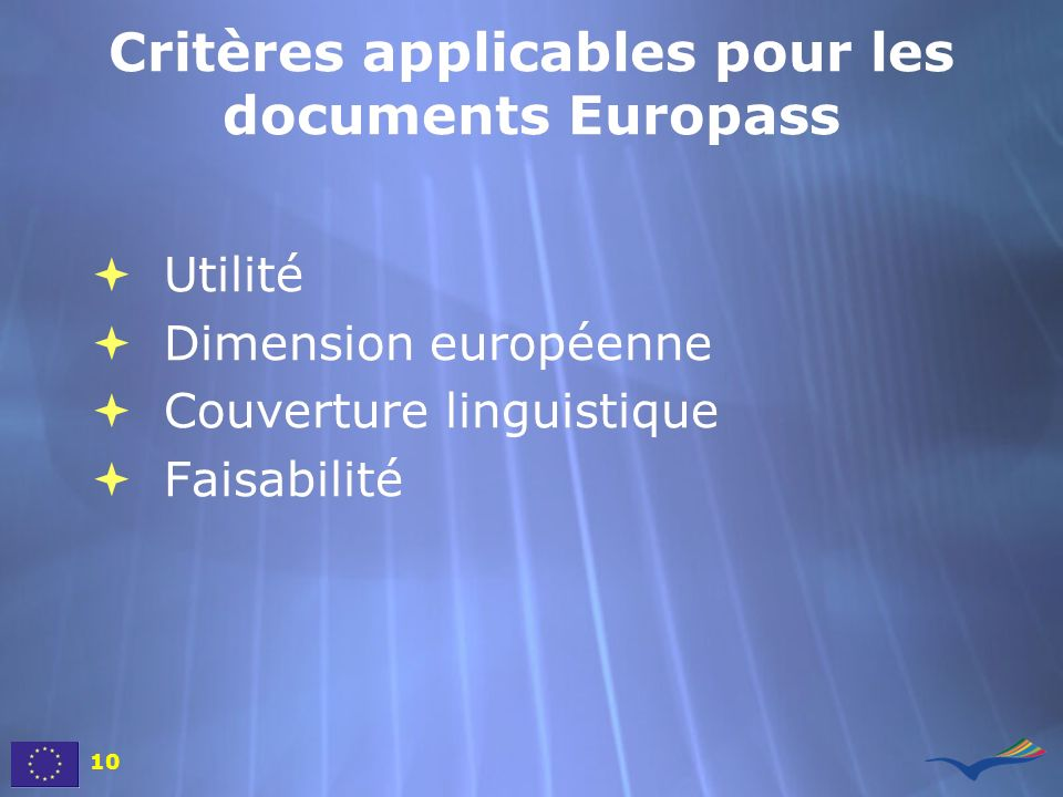Critères applicables pour les documents Europass