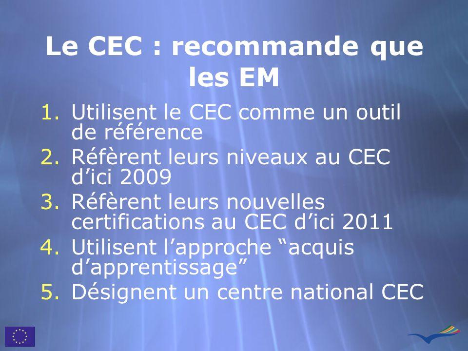 Le CEC : recommande que les EM