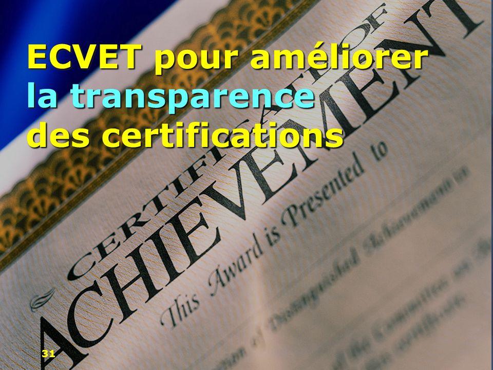 ECVET pour améliorer la transparence des certifications
