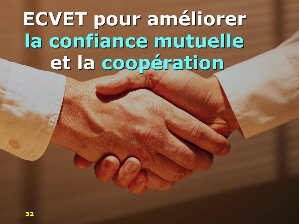 ECVET pour améliorer la confiance mutuelle et la coopération