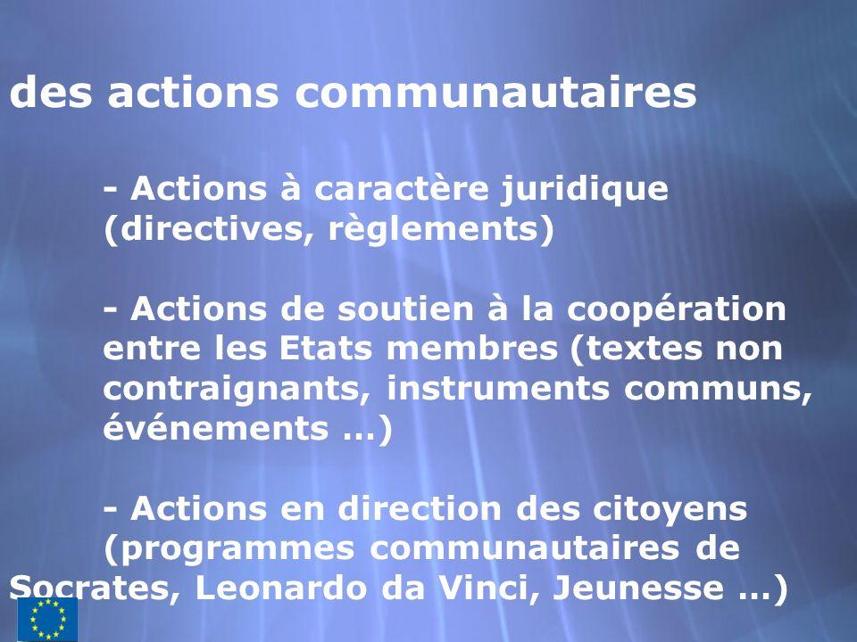 des actions communautaires. - Actions à caractère juridique
