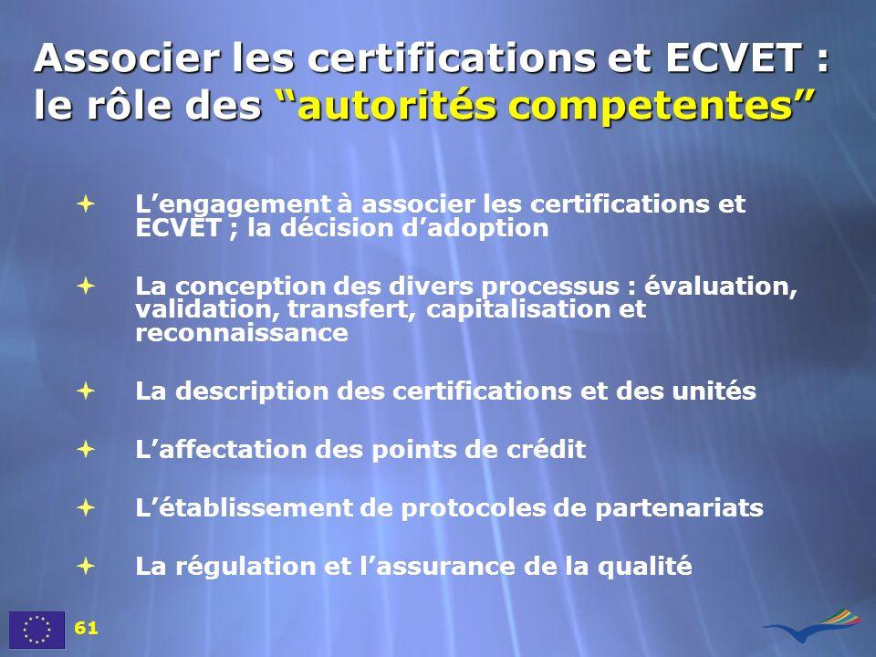 Associer les certifications et ECVET : le rôle des autorités competentes