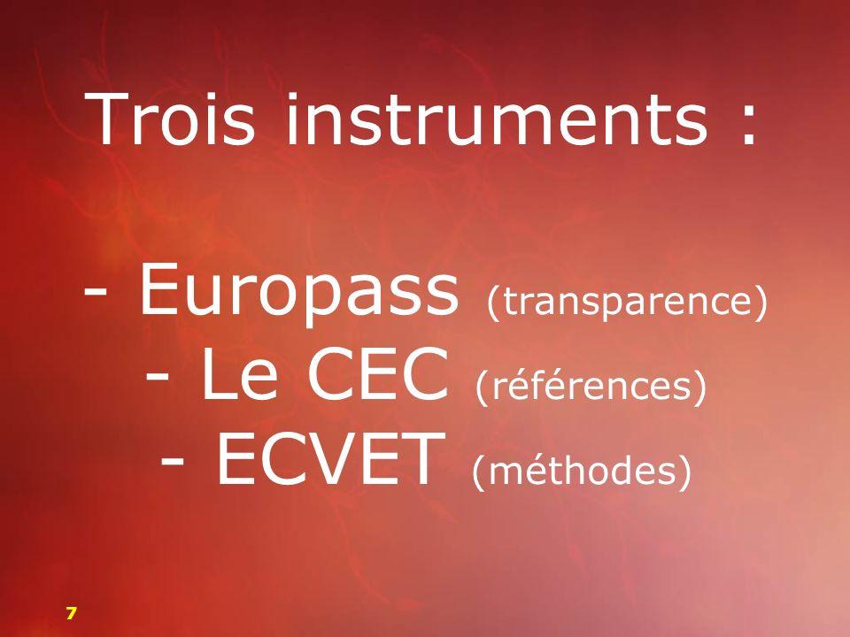 Trois instruments : - Europass (transparence) - Le CEC (références) - ECVET (méthodes)