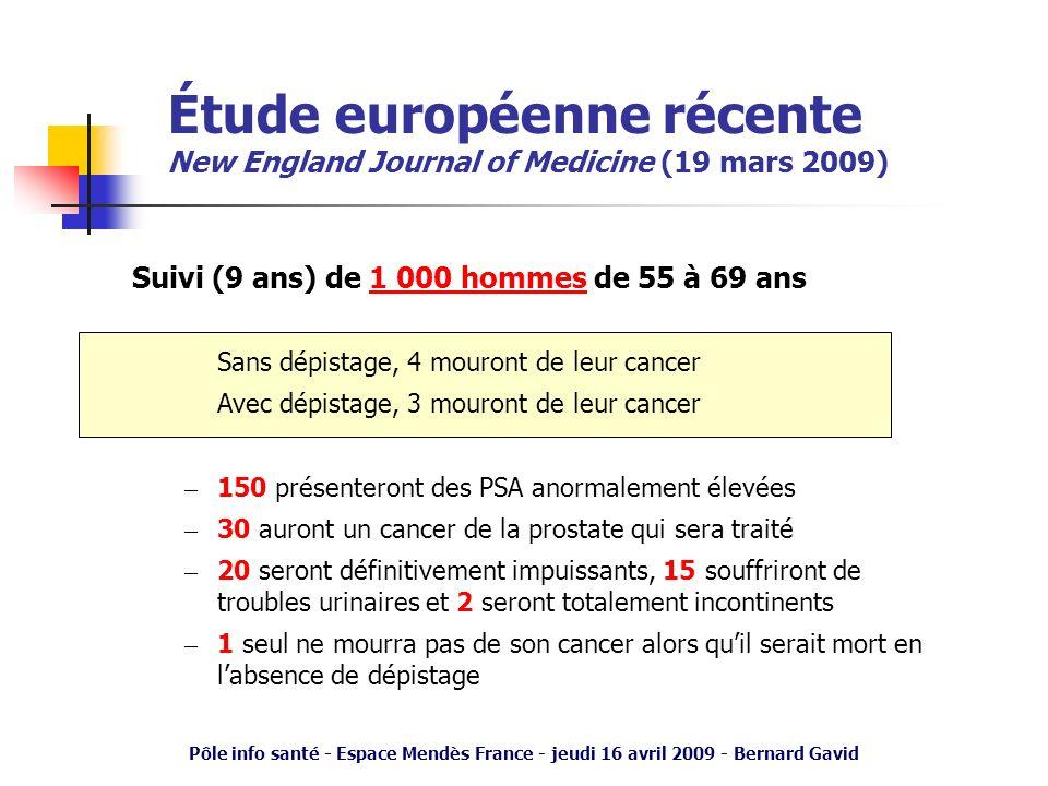 Étude européenne récente New England Journal of Medicine (19 mars 2009)