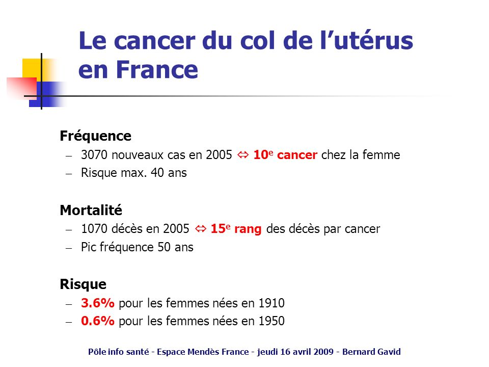 Le cancer du col de l'utérus en France