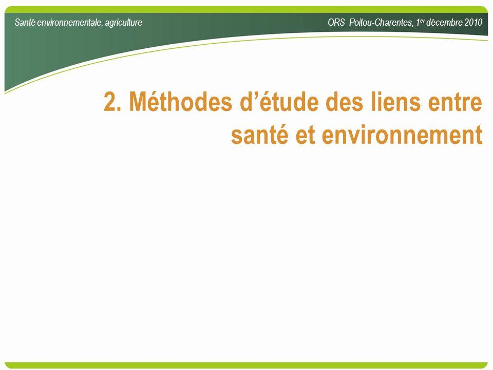 2. Méthodes d'étude des liens entre santé et environnement