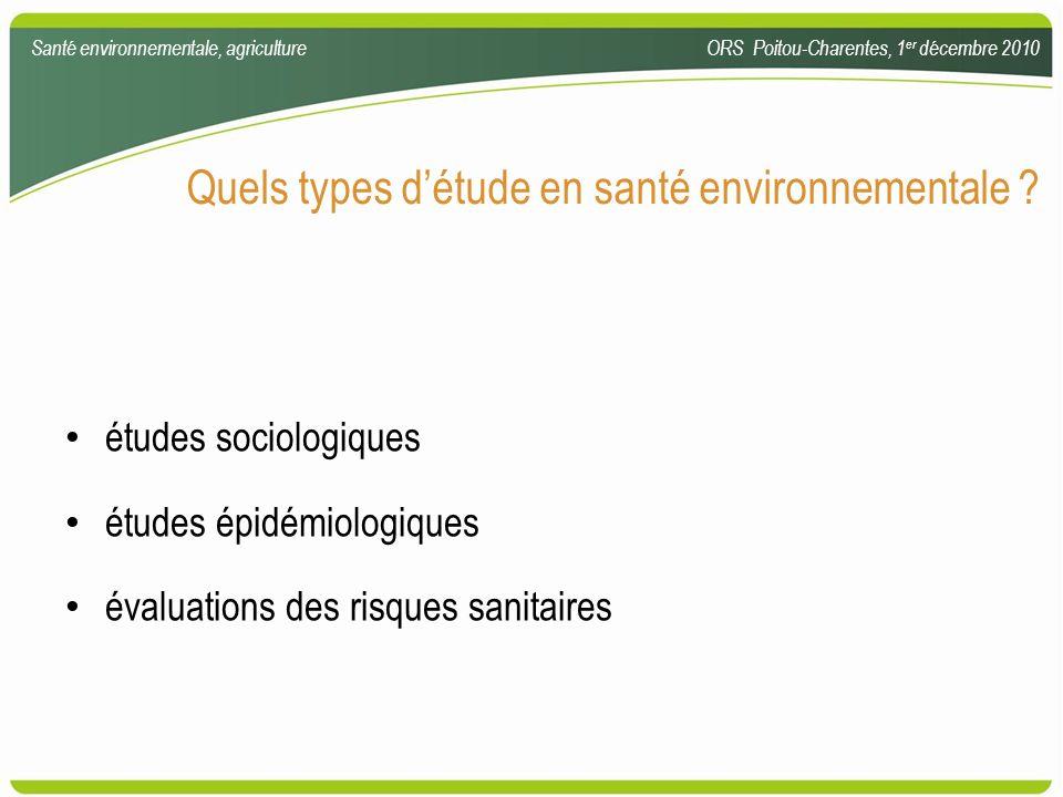 Quels types d'étude en santé environnementale