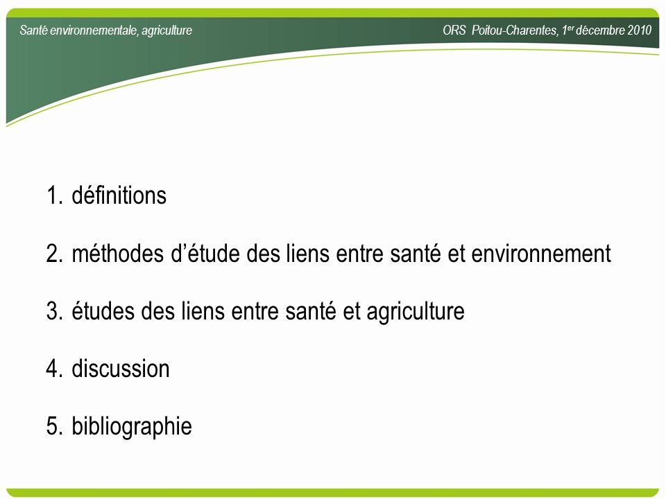 méthodes d'étude des liens entre santé et environnement