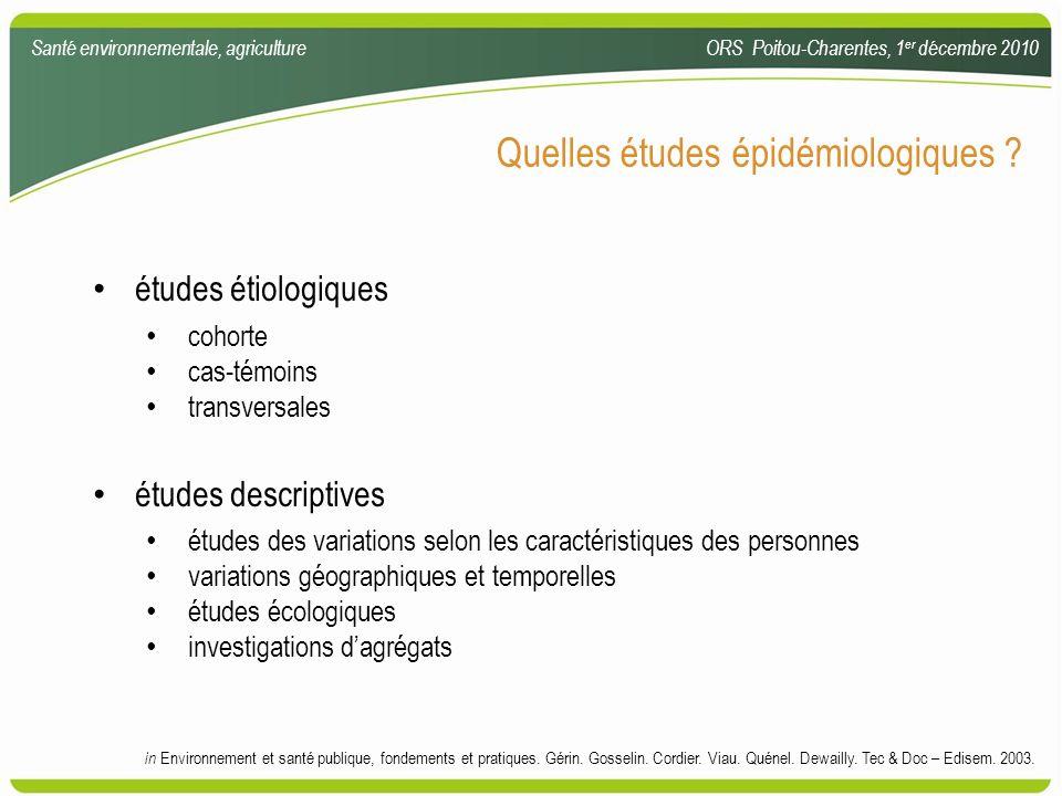 Quelles études épidémiologiques